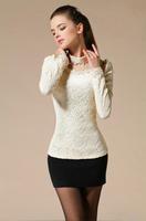 2014 autumn fashion puff sleeve lace shirt women thickening long sleeve elastic lace shirt