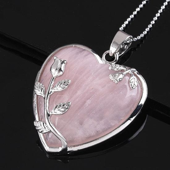 1x Fashion Rose Quartz Alloy Flower Necklace Pendant Heart Inlaid Charm Jewelry(China (Mainland))