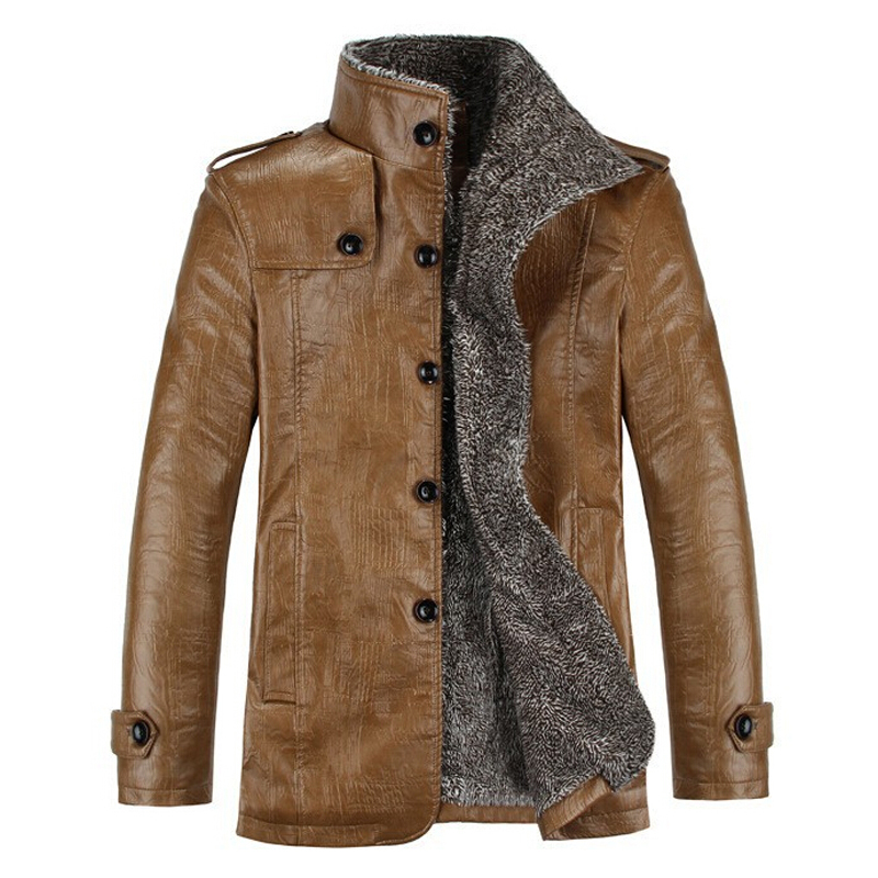 Leather Jacket Men Winter PU Jackets and Coat Thickening Wool Windbreak Waterproof Warm Skin Lamb Fur Trench Coat Plus Size 3XL()