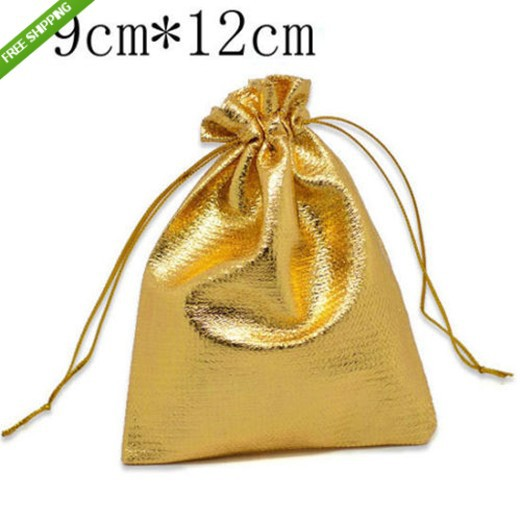 Free Shipping,50pcs 9x12cm Small Silver Plated Satin Drawable Gift Bags Fashion Bag Jewelry Gift Packaging Pouch Bag For Wedding(China (Mainland))