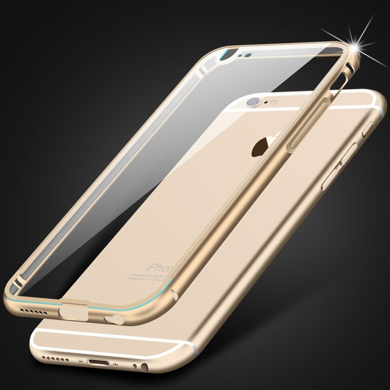 Hot Acrylic Clear Case For iPhone 6 4.7 /Plus 5.5 Aluminum Frame Fashion Transparent Back Cover Hard Slim Metal Rim Phone Bags(China (Mainland))