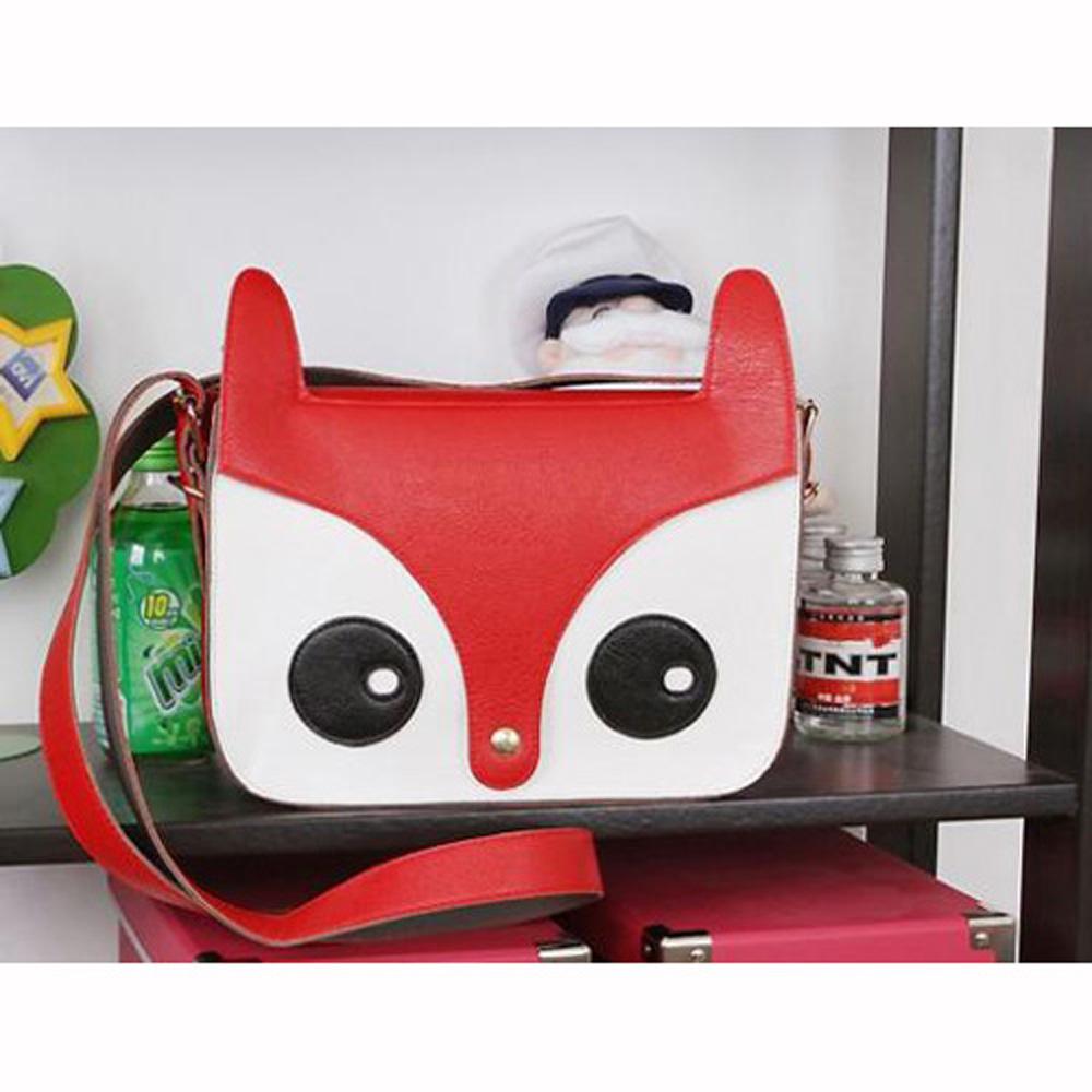 USA Stock! Cute Red Girls Fashion Pu Leather Retro Owl Fox Bag Messenger Crossbody Handbag(China (Mainland))