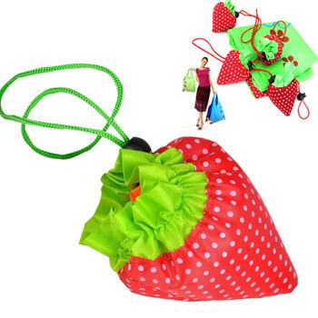 1PCS Random Color Cute Strawberry Shopping Bags Foldable Tote Eco Reusable Storage Handbag Nylon