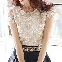 2014 new spring Summer women's chiffon shirt lace top beading embroidery o-neck blouse blusas femininas