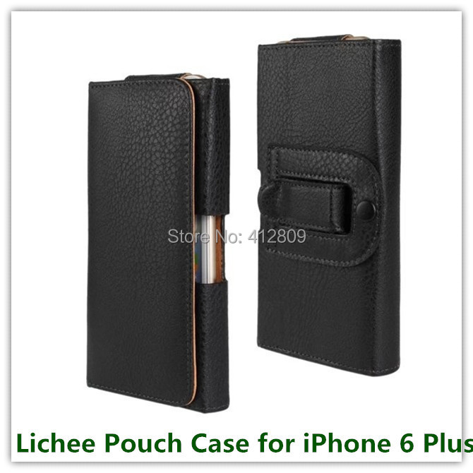 100PCS EMS/DHL Hot Sales Black Lichee Pouch Belt Clip Holster Skin Covers Case for iPhone 6 Plus Cellphone Bags Free(China (Mainland))