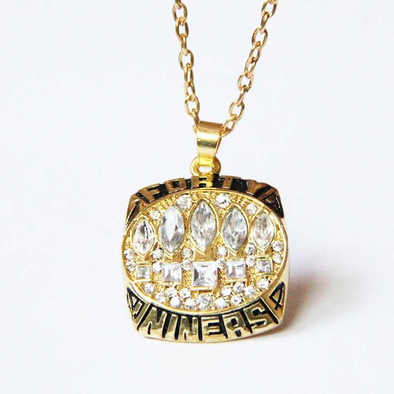 2015 best gift for 1994 San Francisco 49ers Super Bowl XXIX Championship 18k gold Necklaces For Men,fine jewelry free shipping(China (Mainland))