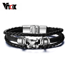 Buy Vnox Promotion men bracelet bangle leather jewelry stainless steel clasp fashion accessories wholesale for $2.99 in AliExpress store