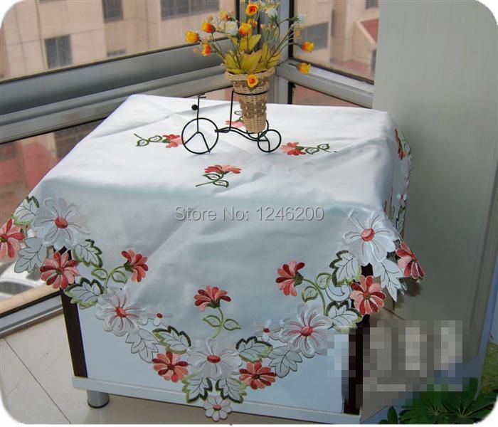 embroidered satin overlay wedding tablecloth on the table spring floral table cloth 85X85CM for home party decor table cover(China (Mainland))