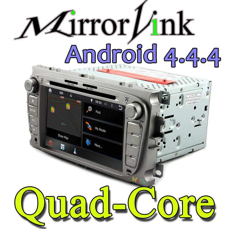 quad core HD 1024*600 A9 1.6GHz Pure Android 4.4.4 Car DVD GPS For Ford Mondeo TRANSITCONNECT With GPS DVR OBD WiFi 3G + Canbus(China (Mainland))