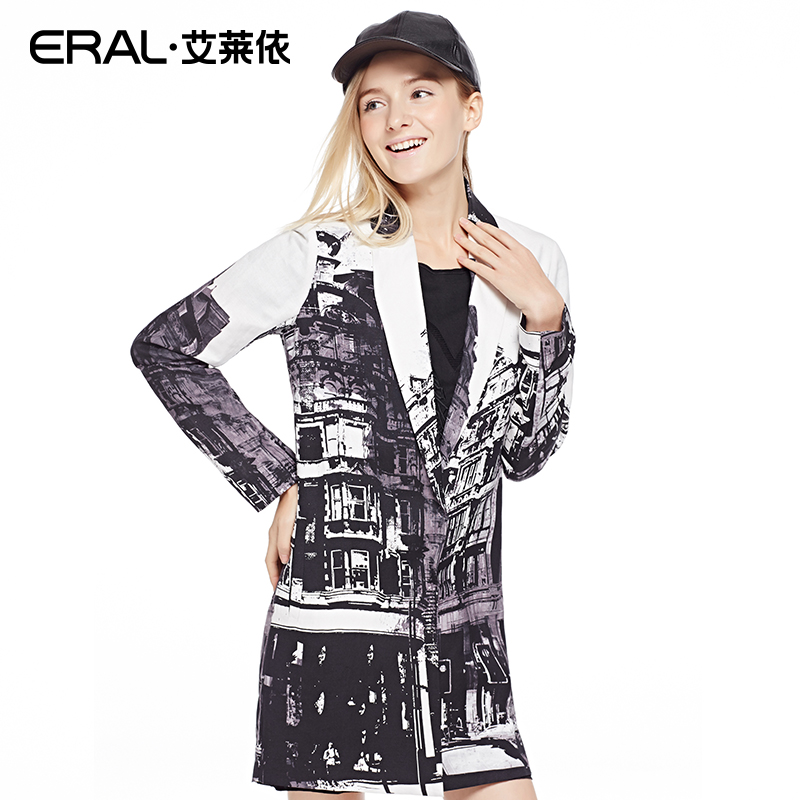 ERAL 2016 Spring Women's Ink Print Casual Fashion Notched Long Sleeve Long Blazers Outerwear  ERAL30020-EXAB