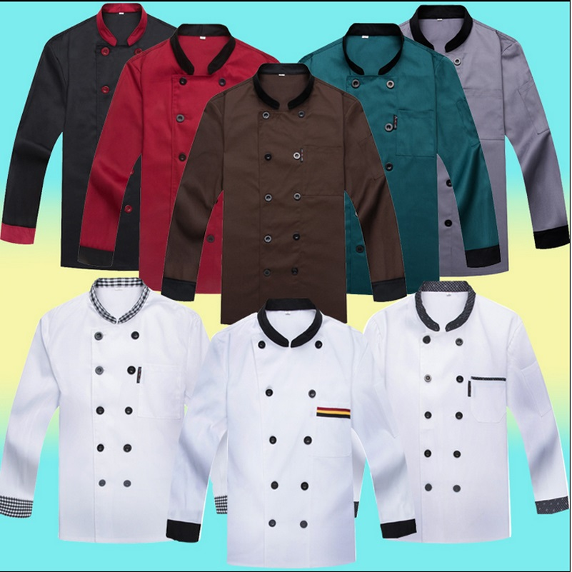 Unisex Japanese Restaurant Uniforms Black White Check Chef Coat Long Sleeve Work Clothes Whte Coveralls Chef Uniformes(China (Mainland))