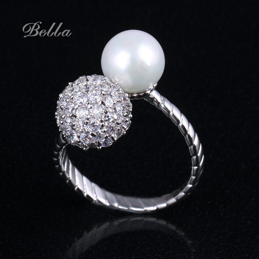 double round engagement rings Luxury Crystal Pearl Rings Fashion Jewelry wedding rings for women promise ring for girl(KA0011-1)(China (Mainland))