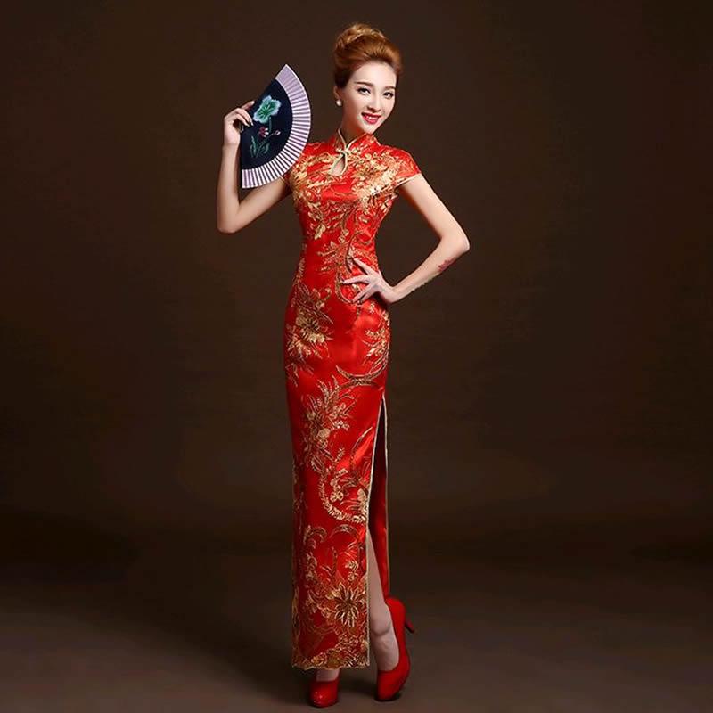 Traditional Cheongsam 4 Color Fashion Red La...