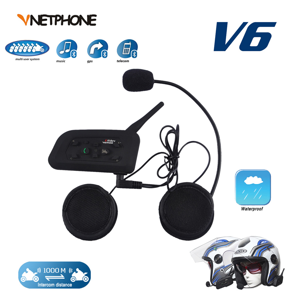 VNETPHONE 1200M 6 Riders Bluetooth Motorcycle Helmet Full Duplex Wireless Bluetooth Interphone BT Intercom Headset(China (Mainland))