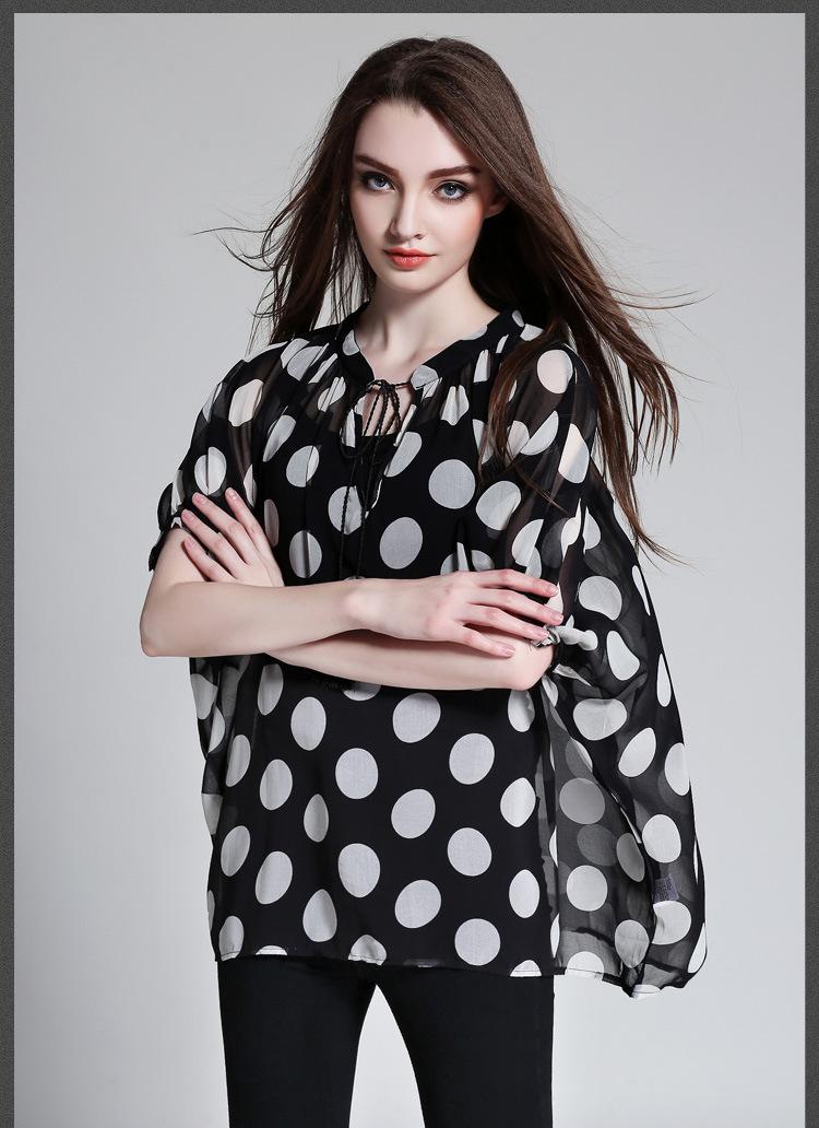 2016 Verão Novo Padrão de Ponto Círculo de Impressão Fácil V pescoço Calaza Borlas Chiffon Camisa tamanho grande mais tamanhos mulheres colthes