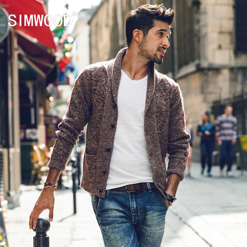 Simwood Homens Camisola 2017 Nova Marca Outono Inverno Turn-down Collar Malha Cardigans Puxar Homme Plus Size Frete Grátis MY370