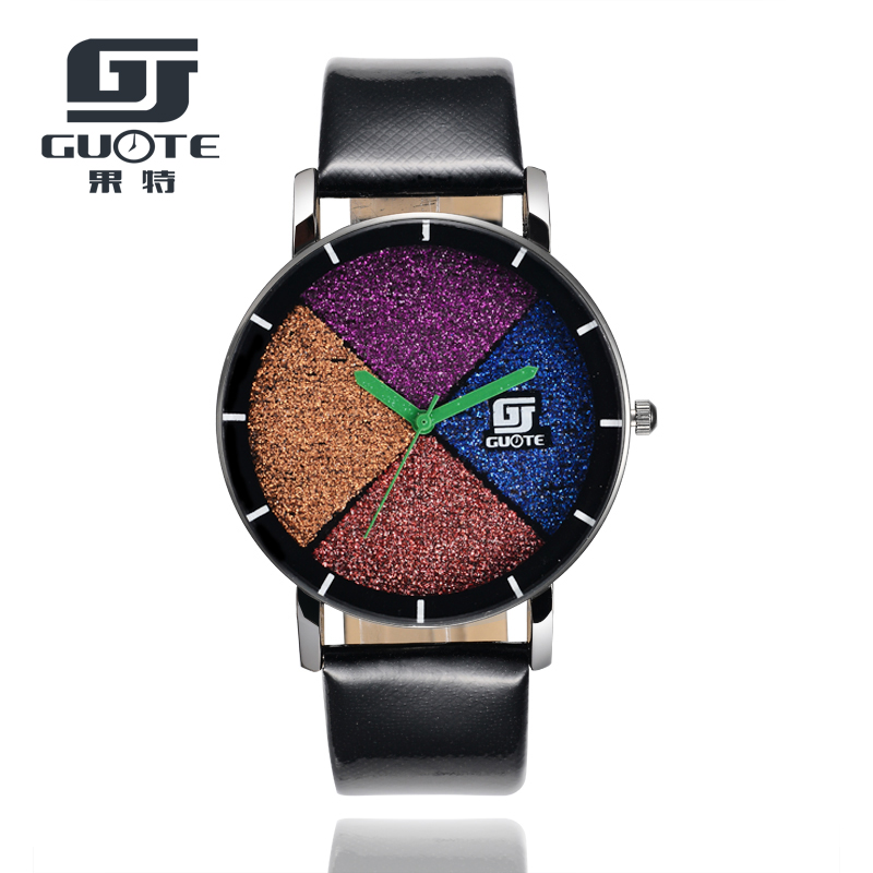 GUOTE Brand New Fashion Watch Women Elegant Leather Strap Color Frosting Pattern Casual Quartz Wristwatch Ladies Popular Clock(China (Mainland))