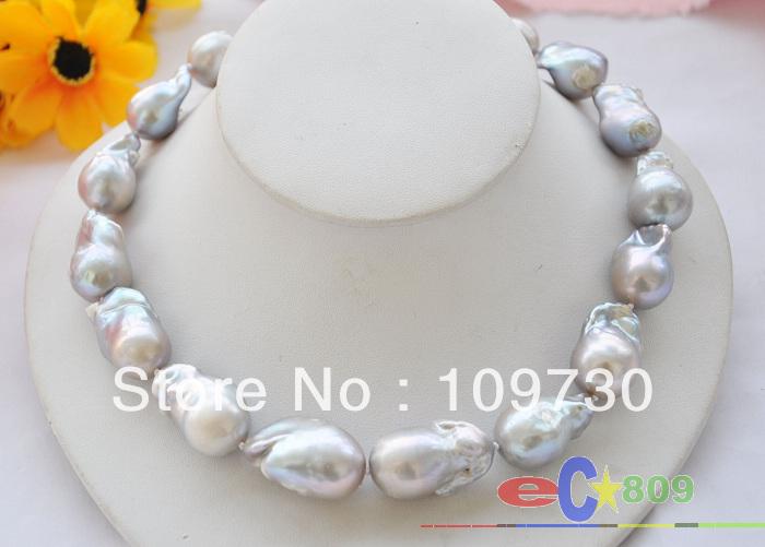 Jewelry 00814 Rare Huge 17 gray baroque KESHI REBORN PEARL NECKLACE<br><br>Aliexpress