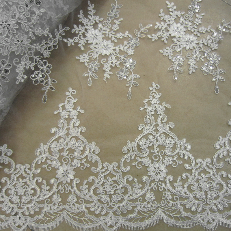 White Alencon Lace Fabric Sequin Bridal Lace Fabric Wedding Gown Lace Cord Lace Fabric 130cm wide by meter
