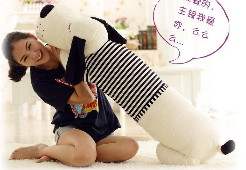 Plush dog pillow toy lovely white lying dog doll with black stripe cloth birthday gift about 130cm<br><br>Aliexpress