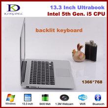 Ultra thin laptop Core i5 5th Generation CPU 13.3'' 4GB RAM 128GB SSD with Backlit keyboard,Webcam Wifi Bluetooth,Windows 7(Hong Kong)