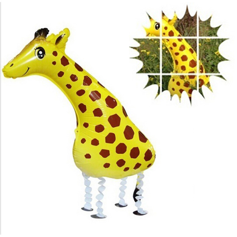 2016 Kids 3D Style Giraffe Mylar Ballons Animals Foil Balloons in Littlest Pet Shop Kids Toys for Zoo Jungle Party(China (Mainland))