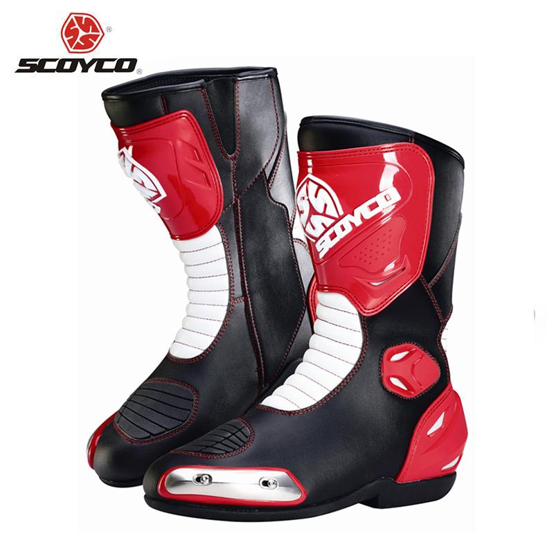 SCOYCO Professional Motorcycle Racing Boots Safety Riding Protective Gear Breathable Dirt Bike Motocross Off-Road Racing Boots