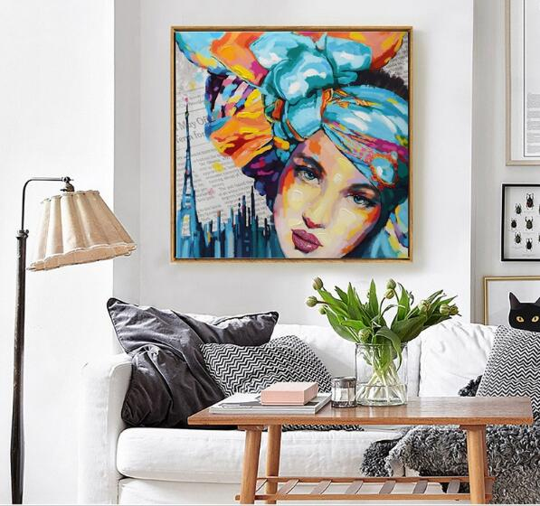 New 2Pieces Graffiti Street Wall Art Abstract Modern Women Face Portrait Pop Decorative Set Canvas Print Oil Painting withframed(China (Mainland))