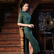 Buy New Arrival Women's Long Cheongsam Traditional Hot Sale China Lady Lace Qipao Elegant Slim Dress Size S M L XL XXL F072420 for $44.88 in AliExpress store