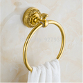 Free Shipping Wholesale and Retail Beautifull Golden Color Solid Brass Towel Ring Wall Mounted Round Shape