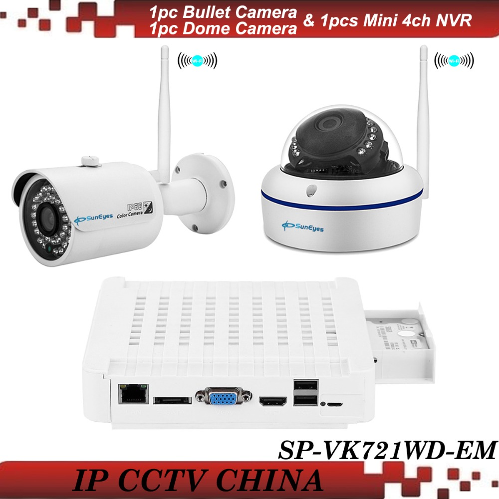 SunEyes SP-VK721WD-EM 720P HD 2CH IP CCTV Camera NVR Kit with 1pcs HD Wireless Wifi Mini Dome and 1pcs Bullet IP Camera Outdoor<br><br>Aliexpress