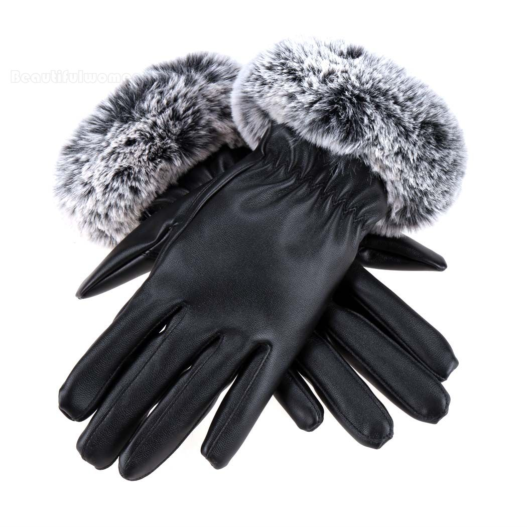 Synthetic leather driving gloves - Sale Winter Fur Gloves Fashion Women Gloves Autumn Winter Warm Synthetic Leather Driving Gloves With Fur Product