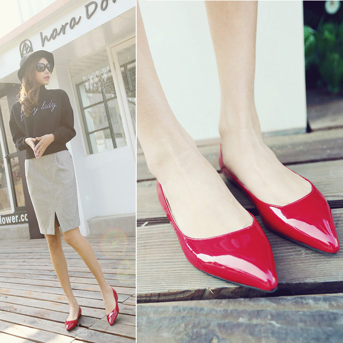 2015 new spring shoes leather shoes female flat flat with pointed shoes fashion shoes tide