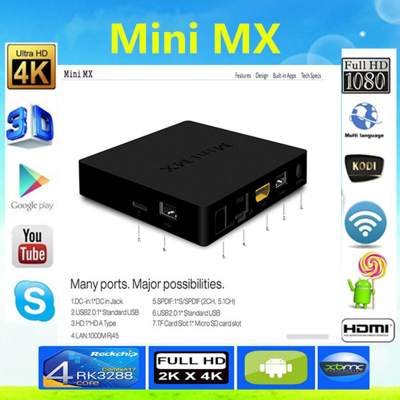 2016 New Android TV Box Rockchip Amlogic S905 Octa-core CPU Android 5.1 Lollipop 1G/8G HDMI2.0 H.265 2.4/5GHz WiFi 4K Mini MX TV<br><br>Aliexpress
