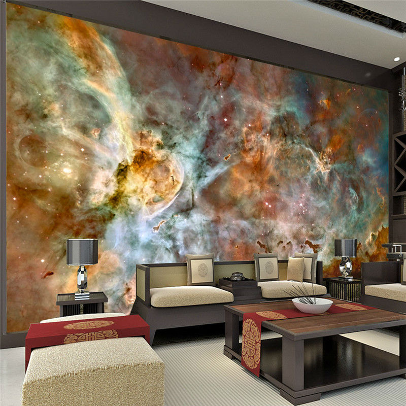 Charming galaxy wallpaper nebula photo wallpaper 3d silk for Mural art designs for bedroom