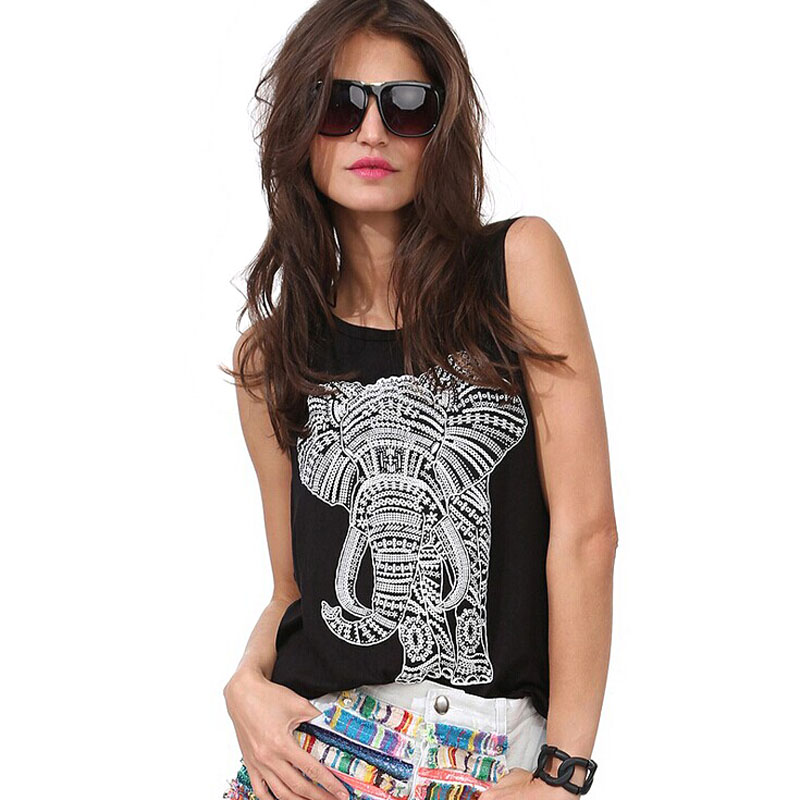 Sexy Woman Elephant Printed Casual Summer 2016 New Camisole Top Black Sleeveless O-neck Loose Vest Tank Top Plus Size S-XXL(China (Mainland))