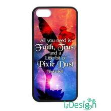 Fit for Samsung Galaxy mini S3/4/5/6/7 edge plus+ Note2/3/4/5 back skins cellphone case cover Tinkerbell Quote black