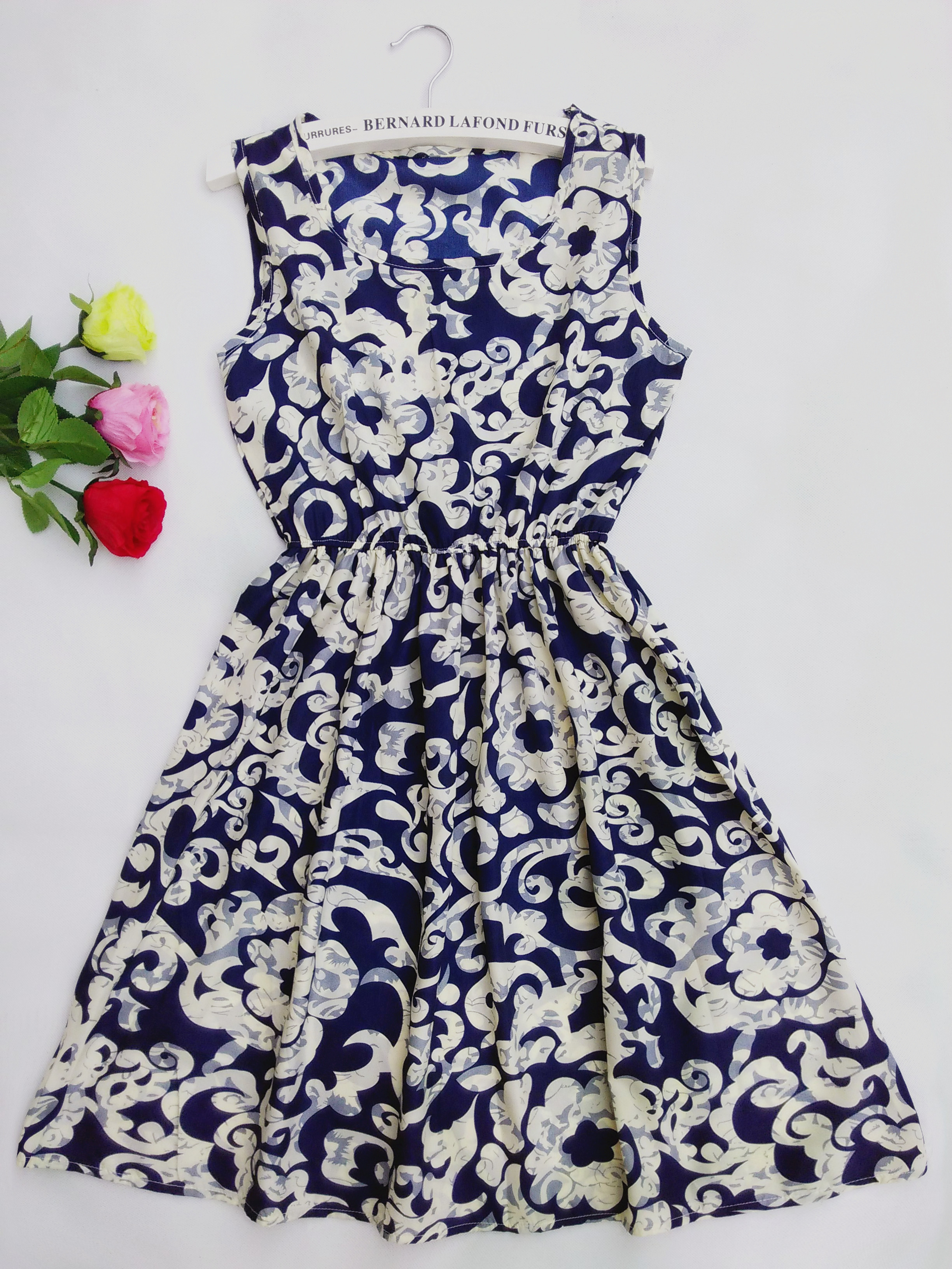 F&H 2016 new summer autumn vestidos new Women casual Bohemian floral leopard sleeveless vest printed beach chiffon dress(China (Mainland))