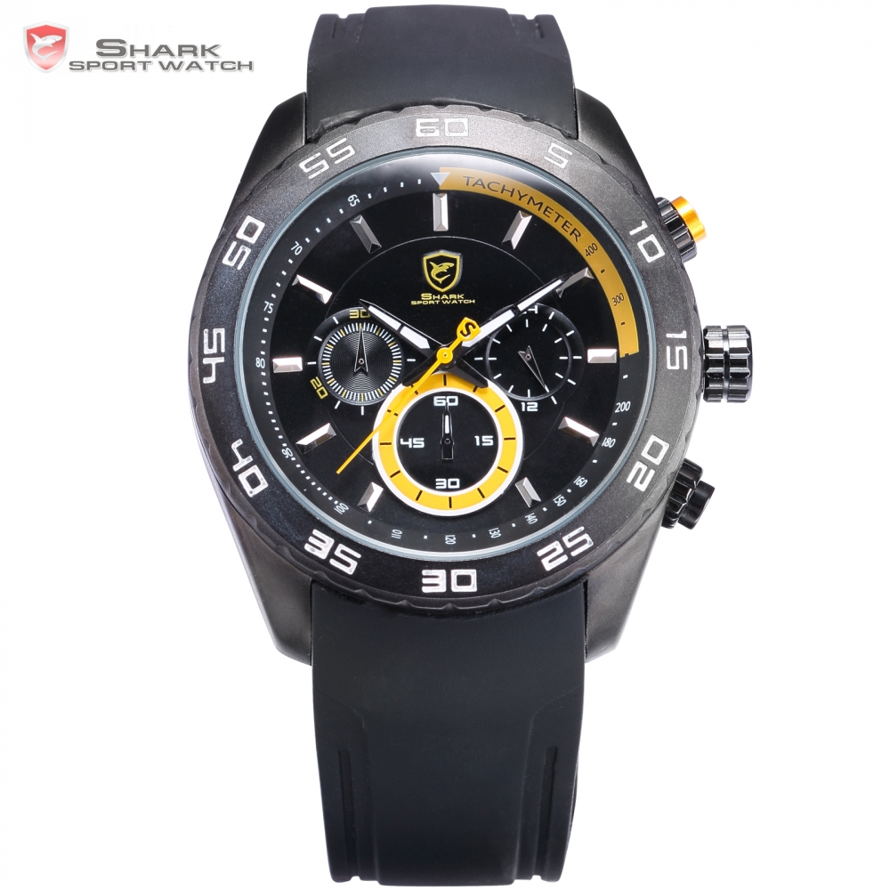 Waterproof Tag Spinner Shark Sport Watch Fashion Male Clock Yellow Silicone Band Analog 6 Hands Men's Hours Quartz Watch/ SH259(China (Mainland))