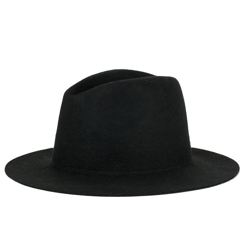 2016 High Quality New Pattern Korea Style Trendy Blank Wool Hats Big Brim Jazz hat Felt Cap Free Shipping(China (Mainland))