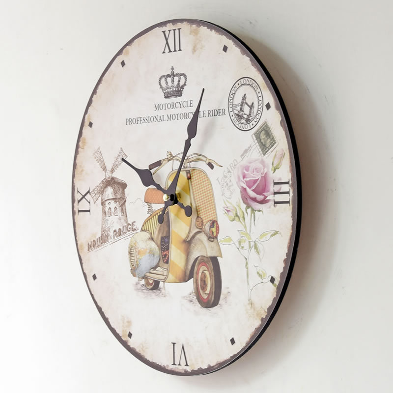 High Quality Large Vintage Flower Wooden Digital Wall Clock Kitchen Chic Retro Home Silent Art Clocks(China (Mainland))