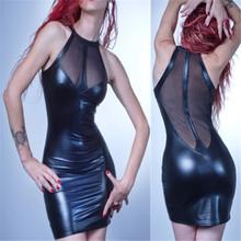 Buy 2017 Sexy Black Vinyl Mesh PVC Dress Bodycon Fetish Faux Leather Dress Gothic Bondage Sleeveless Night Clubwear Catsuit S-XXL