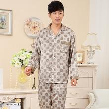 New Men Pajama Sets 2015 spring and autumn thin plus size long-sleeve  male sleepwear plus size teenage lounge set wholesale(China (Mainland))