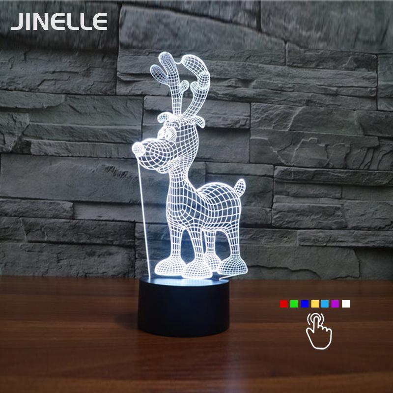 Dropship 7 Color Changing 3D Lamp Deer LED Lamp For Kids Magic Ball Mushroom Night Light Toy Night Light Christmas Gifts(China (Mainland))