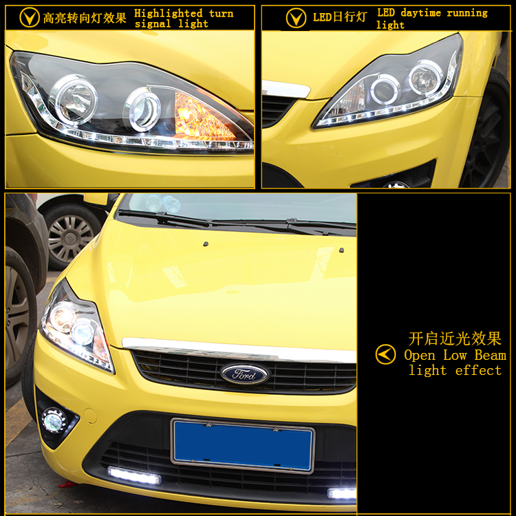 car styling For Ford Focus headlights U angel eyes DRL 2009-2011 For Ford Focus LED light bar DRL Q5 bi xenon lens h7 xenon