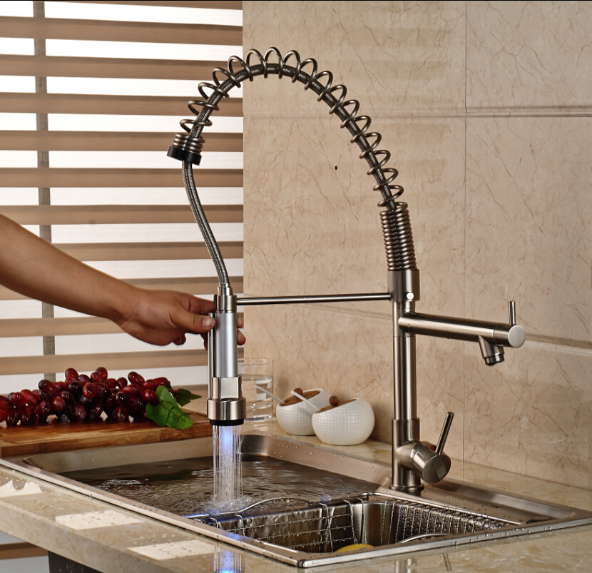 Фотография Nickel Brushed LED Swivel Spout Spring Kitchen Faucet Dual Sprayer Vessel Sink Mixer Tap