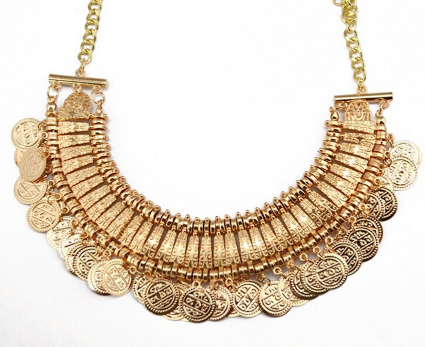 2015 Vintage Boho Coin chunky choker Necklaces Fashion accessories gold plated Turkish statement necklace Indian jewelry(China (Mainland))