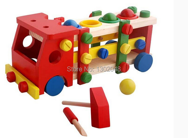 Lovely gift children toys wooden toys learning & education toys Knock the ball reassembly screw car baby toys Free Shipping(China (Mainland))