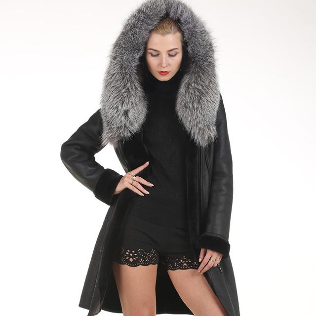 С капюшоном Меховой Воротник Лиса Пальто Мода Slim Кожа С Капюшоном Silver Fox Пальто ...