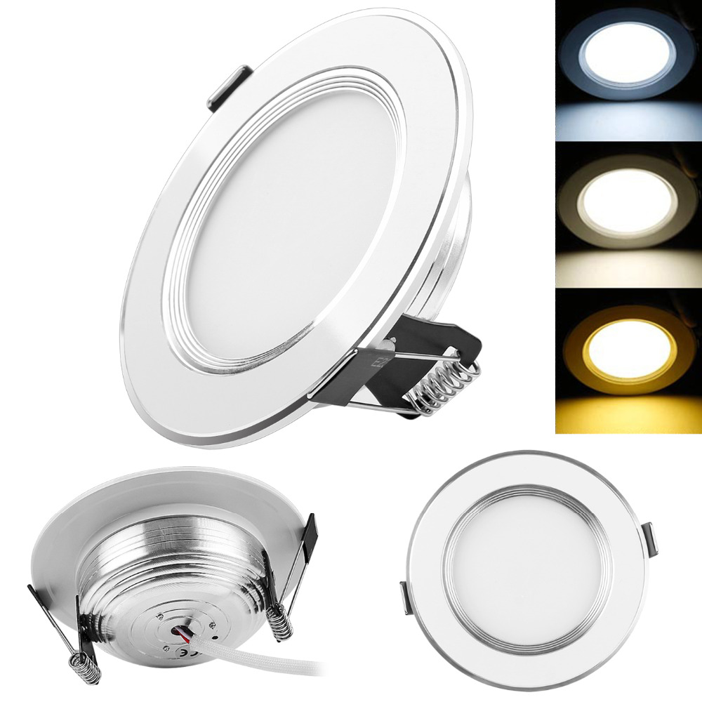 Dimmable 3W 5W 7 W 9W 3-Color LED Panel Down Light Recessed Ceiling Light Spotlight AC 100-245V Led Light for Home Lamps(China (Mainland))